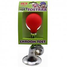 Hoorn Pex kids balhoorn krul metaal chroom toeter rode bol