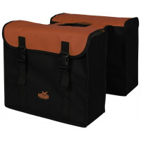 Dubbele tas zwart/brick polyester, waterdicht gecoat
