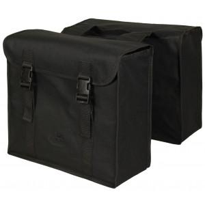 Dubbele tas zwart polyester, waterdicht gecoat