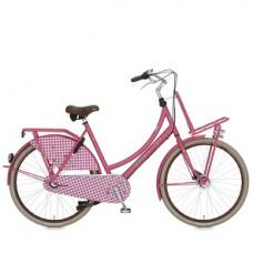 """lief! Cortina fiets 28"""" dames kleur roze  3 versnelling en trommelremmen met voordrager"""