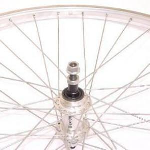 "Achterwiel 28"" (622) alu standaard freewheel zilver vast as"